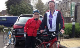 Nick Cann and wife Jo raising funds for the Stroke Association on a sponsored bike ride