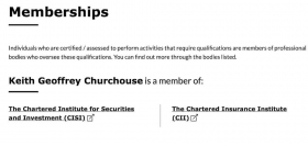 Typical FCA register professional status entry