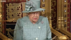 Her Majesty the Queen delivering the Queen's Speech in the House of Lords today (image courtesy BBC TV)
