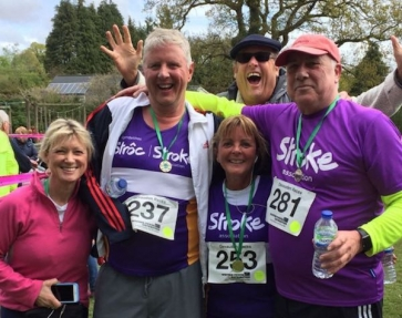 Ex-IFP CEO and stroke survivor Nick Cann recently completed a charity race. He is pictured second from left with wife Jo (far left).