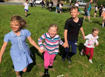 Fraser and friends enjoying the fun run. L-R Alice Tunstall, 8, Gary's daughter, Rosalind Tunstall, 5, Gary's niece, Fraser Tunstall, 11, Gary's son and Emmeline Tunstall, 2, Gary's niece