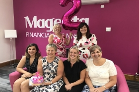 The team celebrate Magenta's two-year anniversary